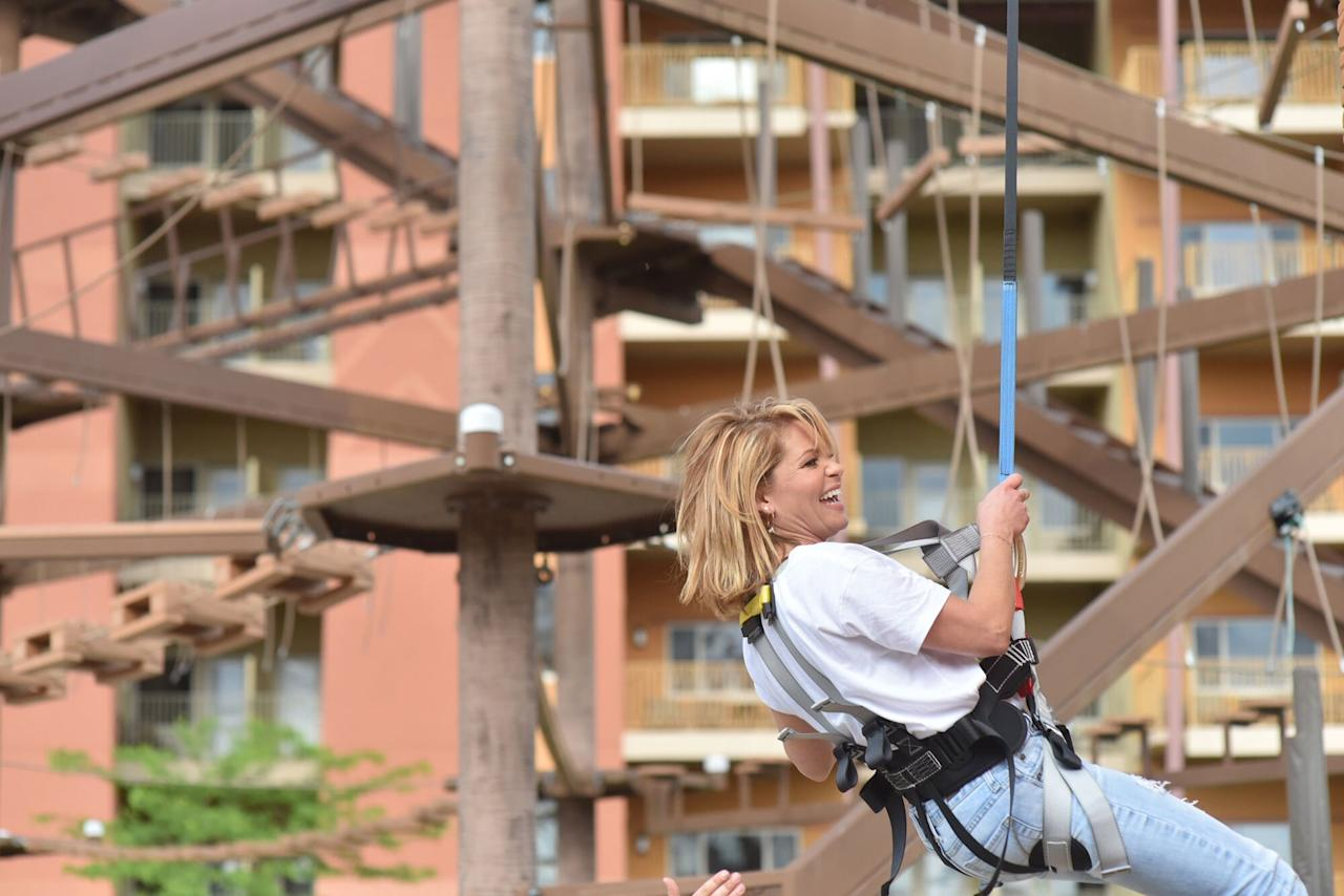 "The <em>Fuller House</em> star hung around the rock-climbing wall while visiting <a href=""https://www.kalahariresorts.com/ohio"">Kalahari Resorts and Conventions</a> in Sandusky, Ohio."