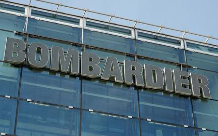 FILE PHOTO: Logo of Bombardier is seen in Zurich