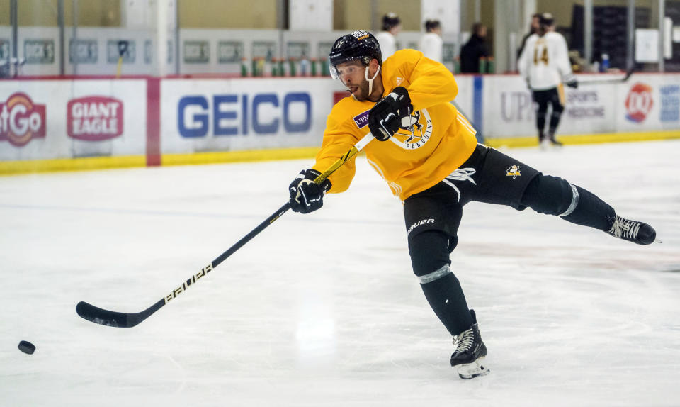 Pittsburgh Penguins' Bryan Rust attends an NHL hockey practice Thursday, Sept. 23, 2021, in Cranberry Township, Pa. (Andrew Rush/Pittsburgh Post-Gazette via AP)