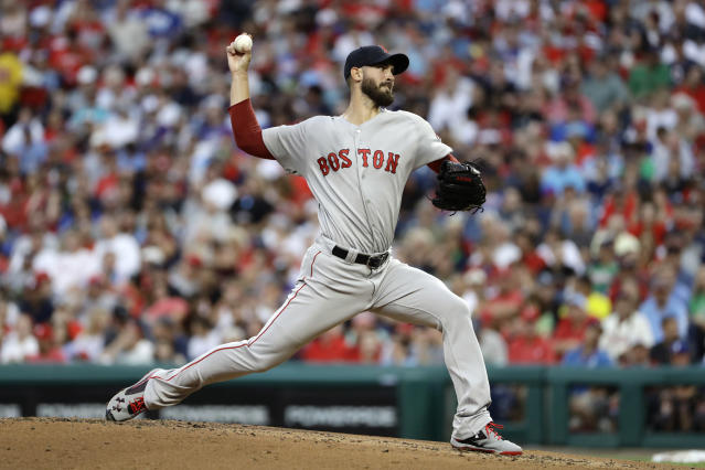 Boston Red Sox's Rick Porcello pitches during the second inning of a baseball game against the Philadelphia Phillies, Tuesday, Aug. 14, 2018, in Philadelphia. (AP Photo/Matt Slocum)
