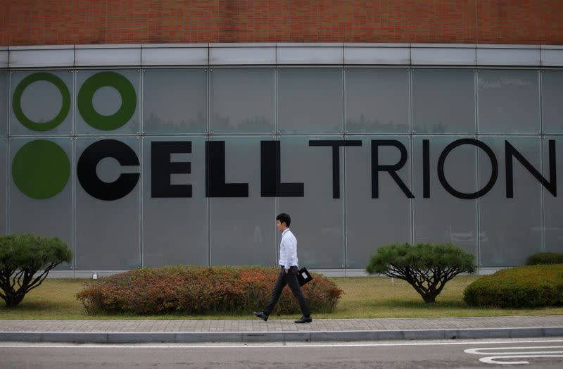 FILE PHOTO: The logo of Celltrion is seen at the company's headquarters in Incheon