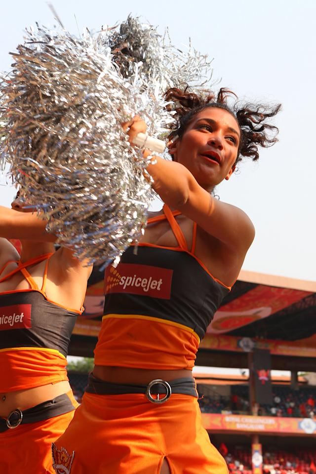 Sunrisers cheerleaders dance for the crowds during match 9 of of the Pepsi Indian Premier League between The Royal Challengers Bangalore and The Sunrisers Hyderabad held at the M. Chinnaswamy Stadium, Bengaluru on the 9th April 2013. (BCCI)
