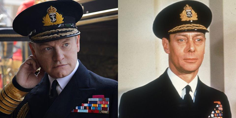 <p>Perhaps best known for playing Lane Pryce on <em>Mad Men</em>, British actor Jared Harris was the face of Elizabeth's father, King George VI, on season 1 of <em>The Crown</em> (along with a flashback episode in season 2). George VI's reign famously began in 1936 when his brother Edward abdicated the throne and married American socialite Wallis Simpson. In 1952, following the stresses of World War I and a long battle with lung cancer and other illnesses, the king died in his sleep at the age of 56 while the future Queen Elizabeth was on an official royal tour of Australia and Kenya.</p>