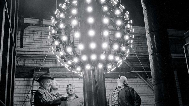 PHOTO: In this 1978 file photo, technicians eye the new improved Times Square's New Years Eve Ball. This version, which had halogen lamps for higher visibility, replaced a six-foot ball that had ordinary light bulbs. (Chester Higgins Jr./The New York Times via Redux)