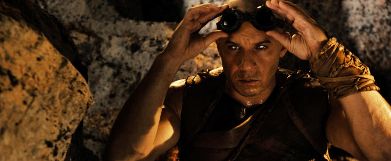 """This publicity photo released by Universal Pictures shows Vin Diesel as the antihero, Riddick, a dangerous, escaped convict wanted by every bounty hunter in the known galaxy—in """"Riddick"""" from Universal Pictures. (AP Photo/Copyright Universal Pictures)"""