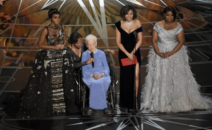 "<span class=""caption"">Katherine Johnson spoke at the Oscars about her work depicted in the 2016 film 'Hidden Figures.'</span> <span class=""attribution""><a class=""link rapid-noclick-resp"" href=""http://www.apimages.com/metadata/Index/Obit-Katherine-Johnson/097812c7068146cea1d45677a622ea4a/8/0"" rel=""nofollow noopener"" target=""_blank"" data-ylk=""slk:AP Photo/Chris Pizzello"">AP Photo/Chris Pizzello</a></span>"