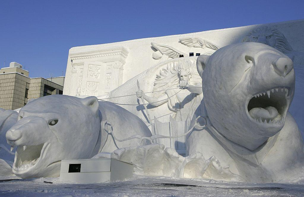 A Narnia snow sculpture is displayed at Odori Koen during the 57th Sapporo Snow Festival in Sapporo, Hokkaido, Japan.