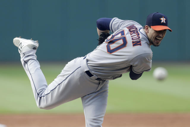 Houston Astros starting pitcher Charlie Morton delivers in the first inning of a baseball game against the Cleveland Indians, Thursday, May 24, 2018, in Cleveland. (AP Photo/Tony Dejak)