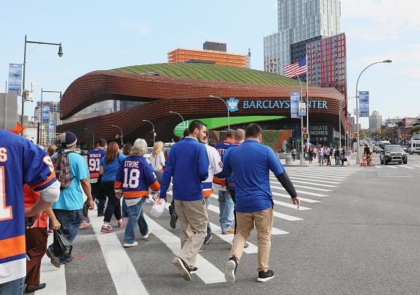 NEW YORK, NY - OCTOBER 16: Fans arrive for the season opening game between the New York Islanders and the Anaheim Ducks at the Barclays Center on October 16, 2016 in the Brooklyn borough of New York City. (Photo by Bruce Bennett/Getty Images)