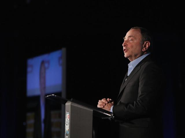 NHL commissioner Gary Bettman speaks Friday ahead of Sunday's NHL All-Star Game at San Jose, California (AFP Photo/BRUCE BENNETT)