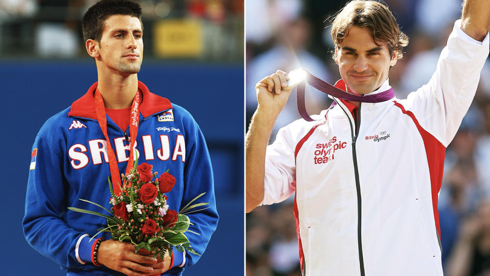 Novak Djokovic and Roger Federer, pictured here at the Olympic Games.
