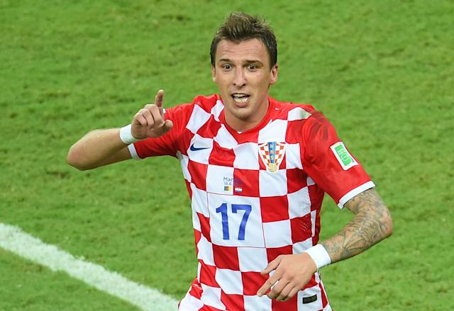 Croatia's forward Mario Mandzukic celebrates his goal during a match between Cameroon and Croatia in the Amazonia Arena in Manaus during the 2014 FIFA World Cup on June 18, 2014 (AFP Photo/Emmanuel Dunand)