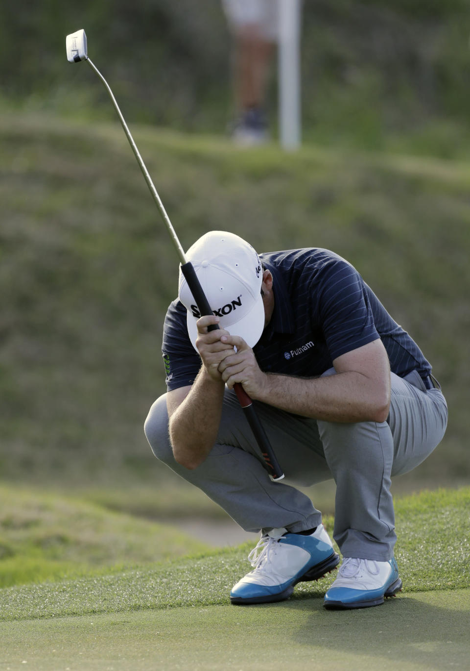 Keegan Bradley reacts to missing a putt on the 16th hole during round-robin play at the Dell Technologies Match Play golf tournament Wednesday, March 21, 2018, in Austin, Texas. (AP Photo/Eric Gay)