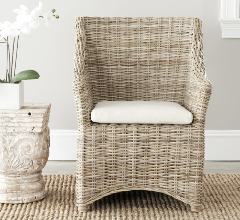 Safavieh Dining Rural Woven St Thomas Wicker Washed-out Brown Wing Back Arm Chair. (Photo: Overstock)