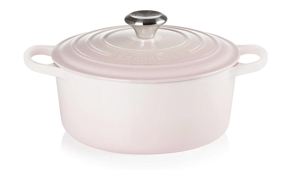 The bubblegum pink is the perfect complement to an all-white kitchen. (Photo: Amazon)