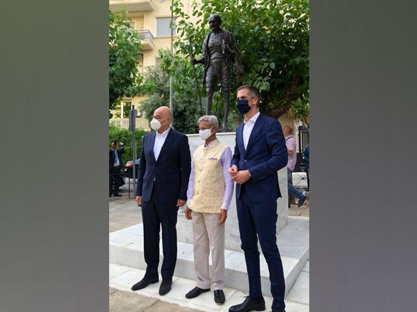 External Affairs Minister (EAM) S Jaishankar along with his Greece counterpart Nikos Dendias unveiled a statue of Mahatma Gandhi in Athens on Saturday, during his trip to the European country.