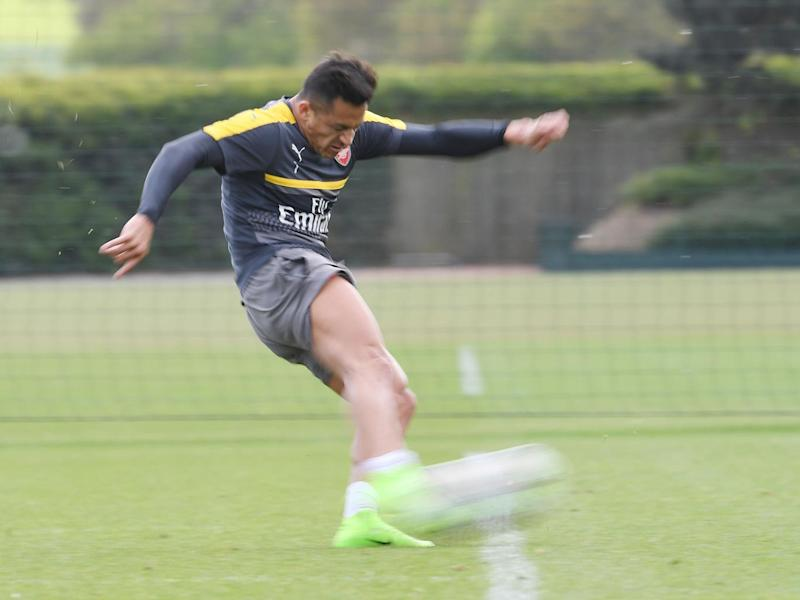 Sanchez during an Arsenal training session (Arsenal FC via Getty)