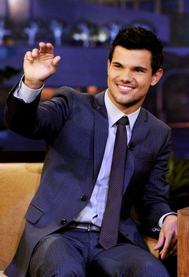 "BURBANK, CA - NOVEMBER 02:  Actor Taylor Lautner appears on ""The Tonight Show With Jay Leno"" at NBC Studios on November 2, 2011 in Burbank, California.  (Photo by Kevin Winter/NBCUniversal/Getty Images)"