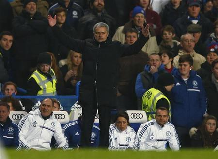 Chelsea's manager Mourinho reacts during their English Premier League soccer match against West Ham United at Stamford Bridge in London