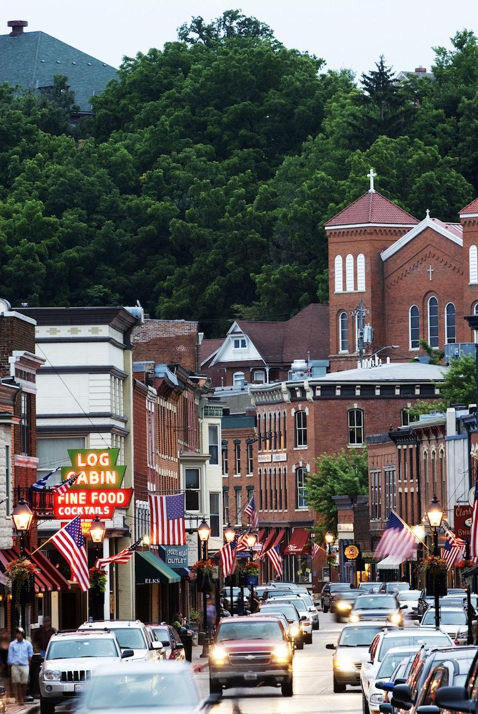 """<p>Another scenic town rich in history, the town of Galena boasts well-preserved buildings. On weekends, the town comes even more to life with weekend day trippers seeking excellent antiques shopping, but what you may not know is that the town is surrounded by a few <a href=""""http://www.galena.org/things-to-do/cuisine/wineries/"""" rel=""""nofollow noopener"""" target=""""_blank"""" data-ylk=""""slk:notable vineyards"""" class=""""link rapid-noclick-resp"""">notable vineyards</a>. </p><p><a href=""""https://www.housebeautiful.com/entertaining/g3527/genius-wine-hacks/"""" rel=""""nofollow noopener"""" target=""""_blank"""" data-ylk=""""slk:10 tricks every wine lover should know »"""" class=""""link rapid-noclick-resp""""><em>10 tricks every wine lover should know »</em></a></p>"""