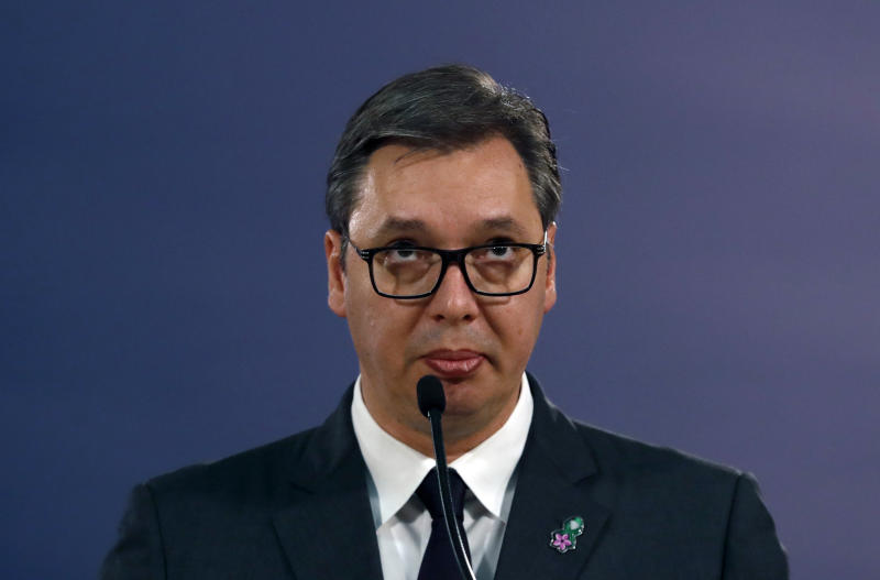 Serbian President Aleksandar Vucic speaks during a news conference after a meeting with Matthew Palmer, Deputy Assistant Secretary of the U.S.Department of State - Bureau of European and Eurasian Affairs in Belgrade, Serbia, Monday, Nov. 4, 2019. The U.S. has intensified efforts to help relaunch stalled talks on normalizing relations between Serbia and Kosovo, a former province whose 2008 declaration of independence Belgrade does not recognize. (AP Photo/Darko Vojinovic)