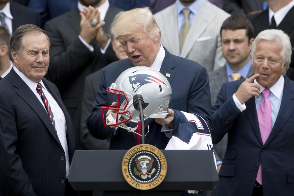 President Donald Trump welcomed Bill Belichick (left), Robert Kraft and the New England Patriots to the White House after their victory in Super Bowl LI. (AP Photo/Andrew Harnik, File)