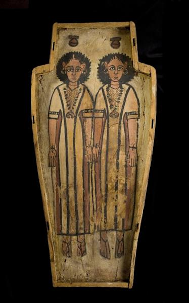 Coffin, plastered and painted wood, made for two children, from Thebes, Roman period