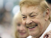 FILE - In this May 8, 2008 file photo, Los Angeles Lakers owner Jerry Buss smiles at the Playmate of the Year luncheon at the Playboy Mansion in Los Angeles. Buss, the Lakers' playboy owner who shepherded the NBA franchise to 10 championships, has died. He was 80. Bob Steiner, an assistant to Buss, confirmed Monday, Feb. 18, 2013 that Buss had died in Los Angeles. Further details were not available. (AP Photo/Matt Sayles, File)