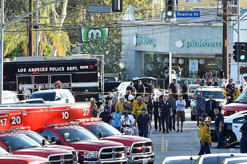 The scene outside a Trader Joe's in Los Angeles' Silver Lake neighborhood after a gunman took hostages there on Saturday, according to police.