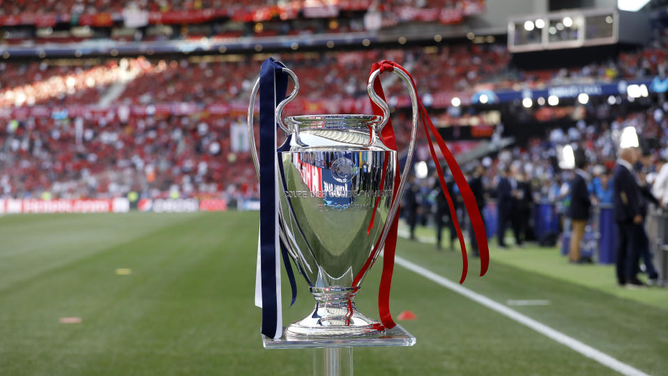 The UEFA Champions League trophy is seen prior to the UEFA Champions League Final. (Photo by TF-Images/Getty Images)