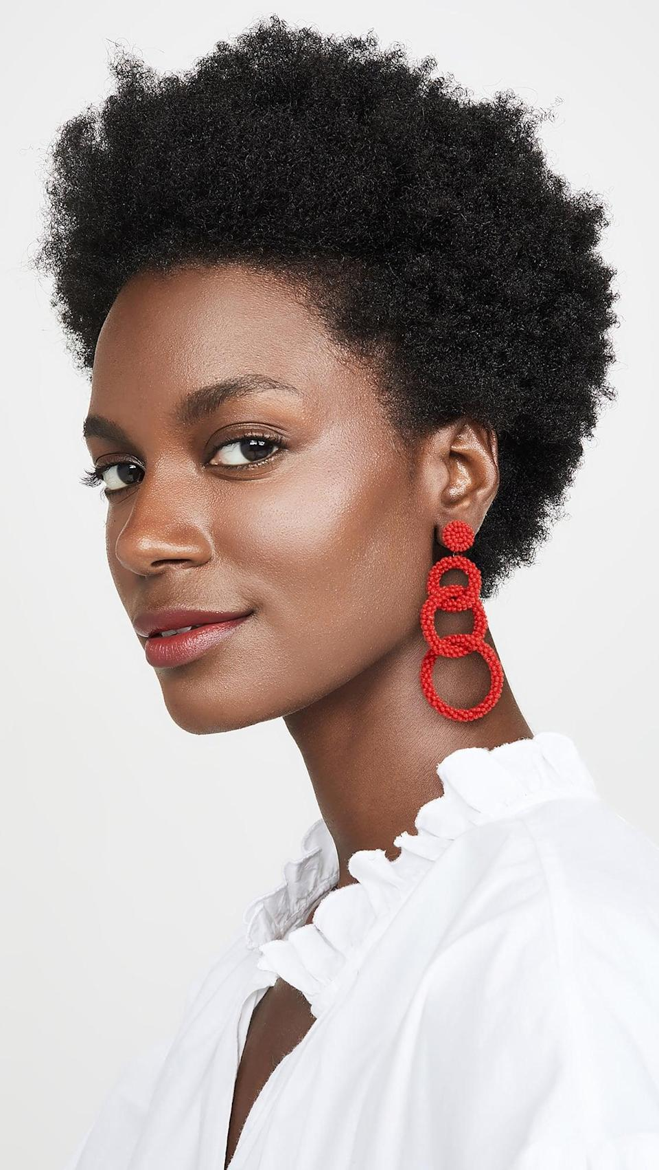 <p>Easily add some color to their wardrobe with these <span>Deepa by Deepa Gurnani Ember Earrings</span> ($60).</p>