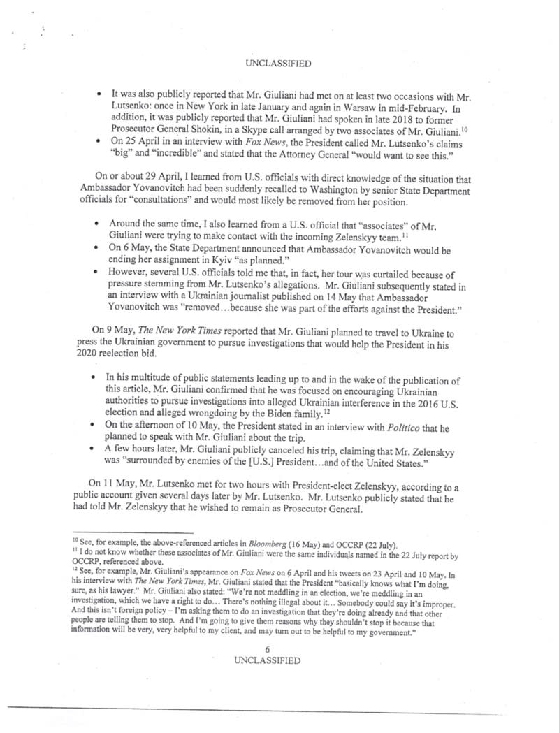 A page of the declassified complaint filed by an intelligence officer about President Donald Trump's interactions with the leader of Ukraine, released by the House Permanent Select Committee on Intelligence on Sept. 26, 2019. (House Permanent Select Committee on Intelligence via The New York Times)