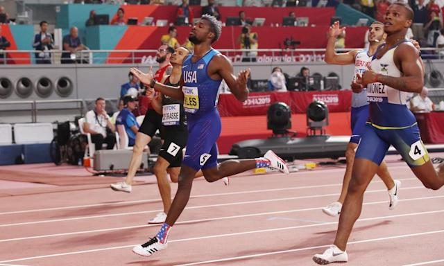 "<span class=""element-image__caption"">Noah Lyles celebrates after crossing the line.</span> <span class=""element-image__credit"">Photograph: Christian Petersen/Getty Images</span>"