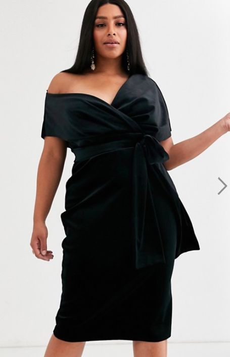 ASOS Design velvet dress. Photo: Asos
