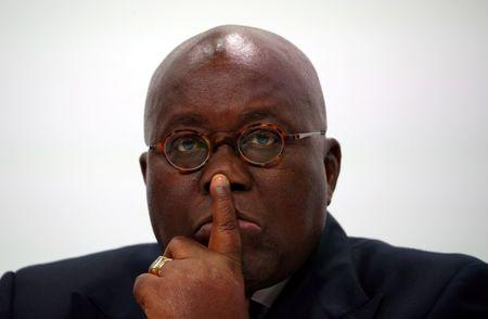 Ghana's President Nana Addo Dankwa Akufo-Addo listens during a news conference to mark the end of the Commonwealth Heads of Government Meeting at Marlborough House in London