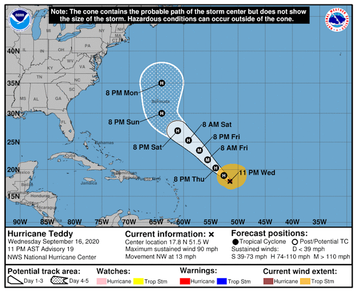 Hurricane Teddy could be a powerful Category 2 storm by the time it approaches Bermuda.