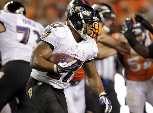 Baltimore Ravens running back Ray Rice runs for a touchdown against the Denver Broncos during the first half of an NFL football game, Thursday, Sept. 5, 2013, in Denver. (AP Photo/Joe Mahoney)