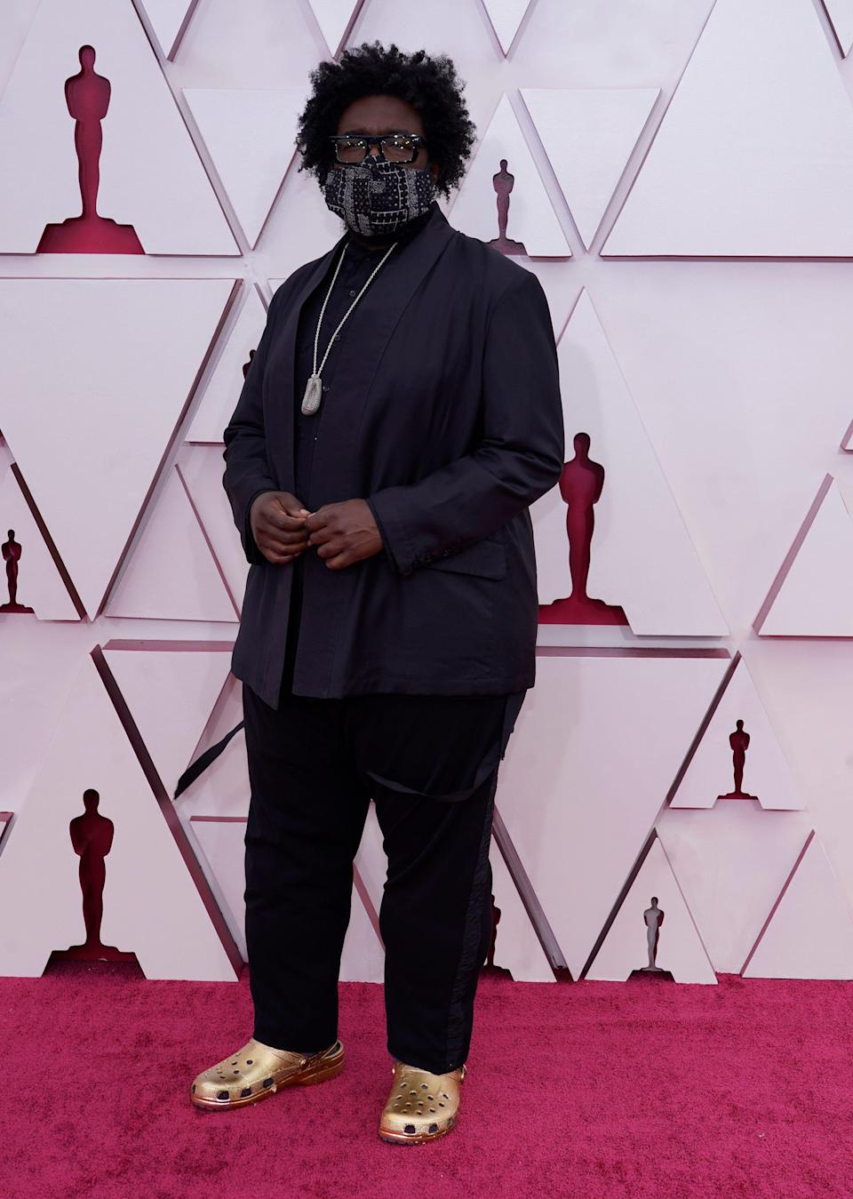 Questlove arrives at the Oscars on April 25, 2021, at Union Station in Los Angeles.