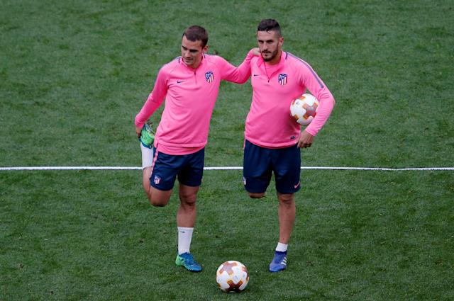 Soccer Football - Europa League Final - Atletico Madrid Training - Groupama Stadium, Lyon, France - May 15, 2018 Atletico Madrid's Antoine Griezmann and Koke during training REUTERS/Vincent Kessler