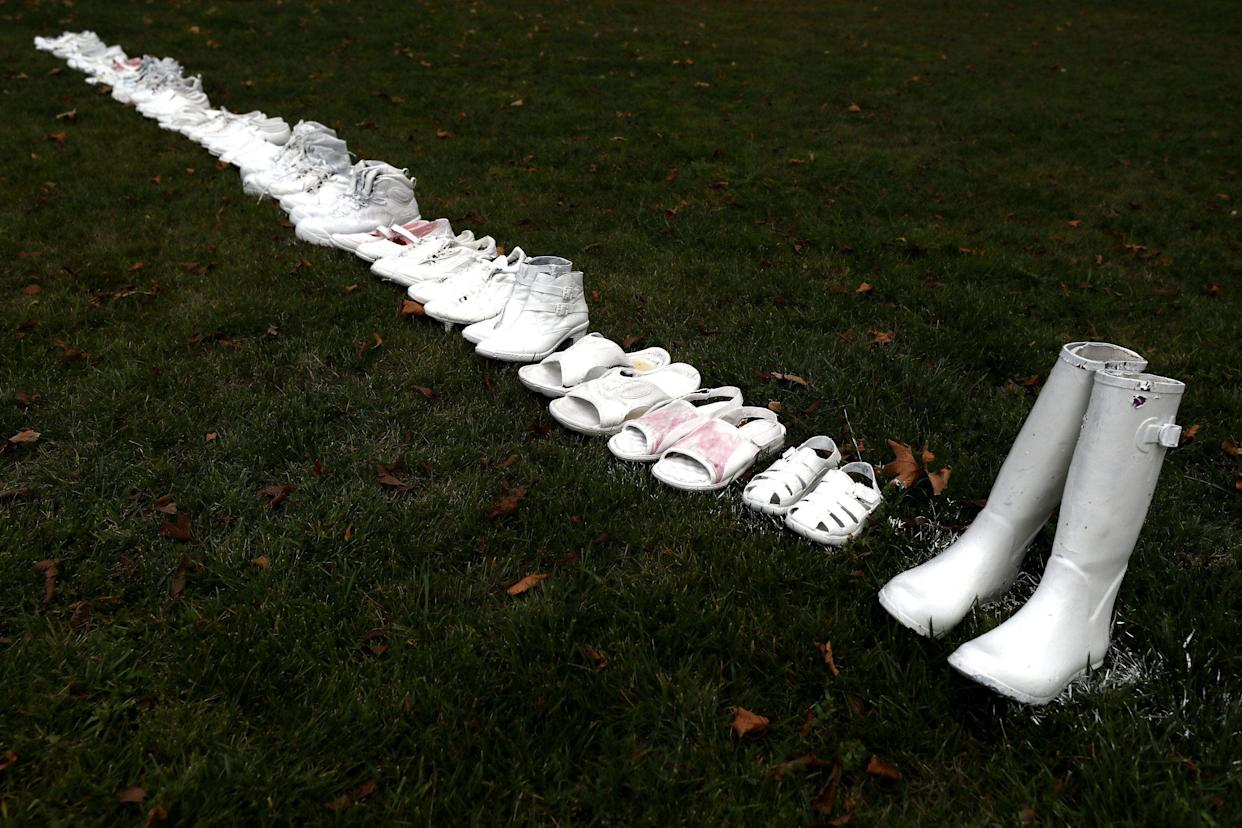 Fifty pairs of white shoes have been laid in front of All Souls Anglican Church in honour of victims who lost their lives on March 18, 2019 in Christchurch, New Zealand. (Photo: Hannah Peters/Getty Images)