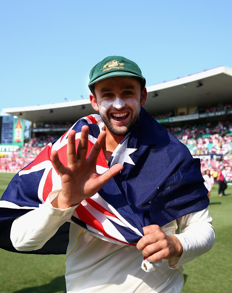 SYDNEY, AUSTRALIA - JANUARY 05:  Nathan Lyon of Australia celebrates victory during day three of the Fifth Ashes Test match between Australia and England at Sydney Cricket Ground on January 5, 2014 in Sydney, Australia.  (Photo by Ryan Pierse/Getty Images)
