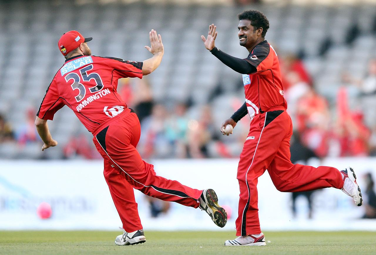 MELBOURNE, AUSTRALIA - DECEMBER 22:  Muthiah Muralidaran (R) of the Melbourne Renegades celebrates his catch with Nathan Rimmington during the Big Bash League match between the Melbourne Renegades and the Brisbane Heat at Etihad Stadium on December 22, 2012 in Melbourne, Australia.  (Photo by Michael Dodge/Getty Images)