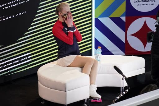 Bradie Tennell reacts as she hears her scores from the women's free skate at the U.S. Figure Skating Championships, Friday, Jan. 15, 2021, in Las Vegas. (AP Photo/John Locher)