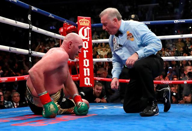 Tyson Fury after being knocked down in the ninth round during his fight against Deontay Wilder. (Action Images via Reuters/Andrew Couldridge)