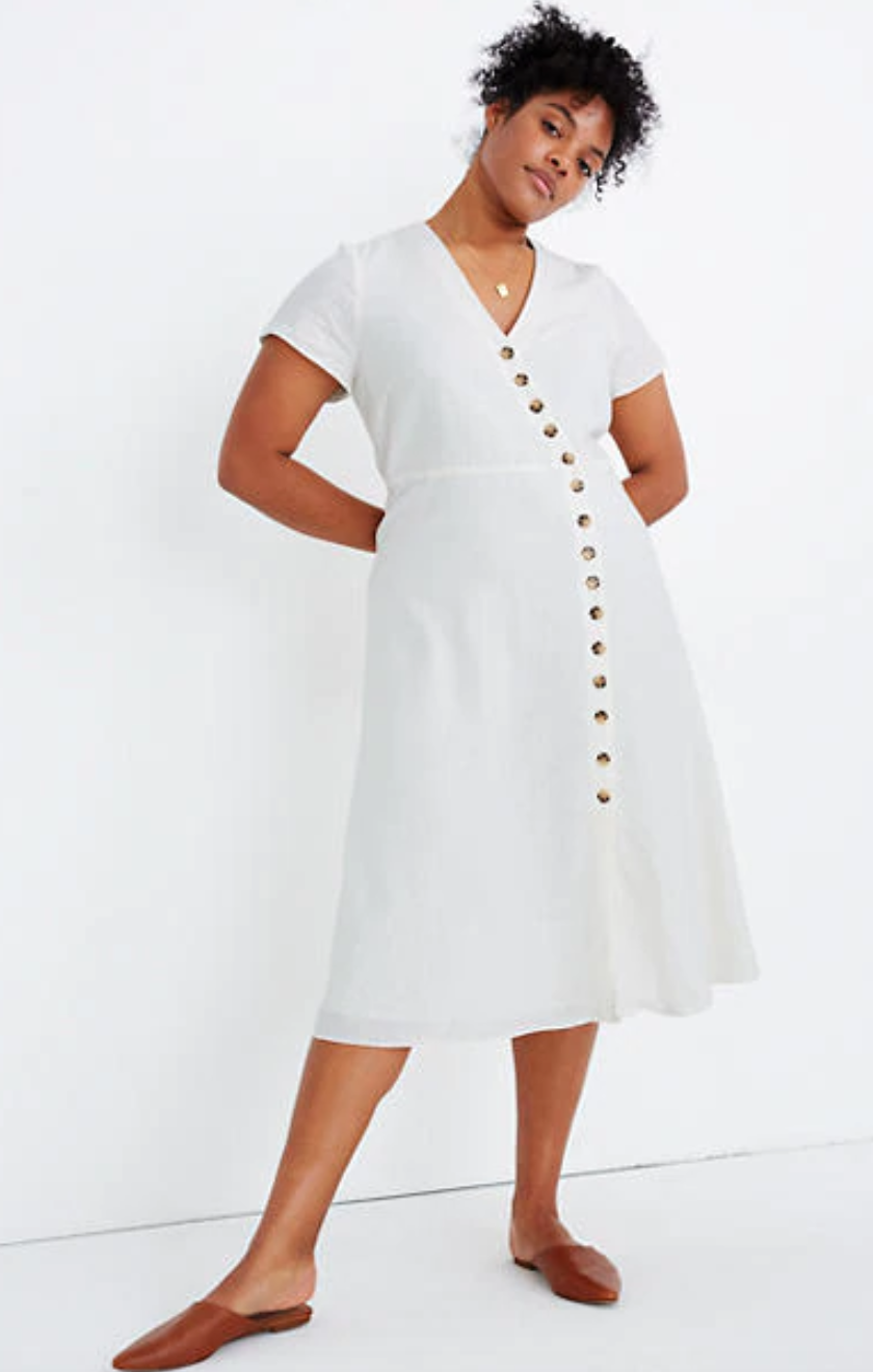 """<br> <br> <strong>Madewell</strong> Linen-Blend Button-Wrap Midi Dress, $, available at <a href=""""https://go.skimresources.com/?id=30283X879131&url=https%3A%2F%2Fwww.madewell.com%2Flinen-blend-button-wrap-midi-dress-AO243.html"""" rel=""""nofollow noopener"""" target=""""_blank"""" data-ylk=""""slk:Madewell"""" class=""""link rapid-noclick-resp"""">Madewell</a>"""