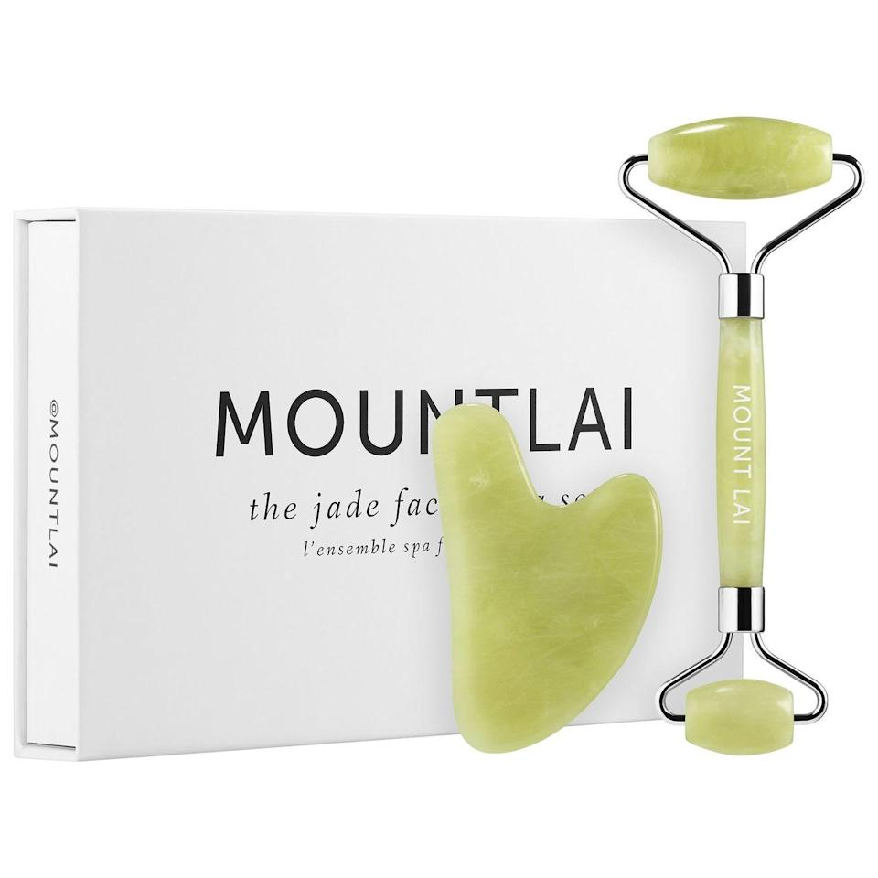 """<p>The Jade Facial Spa Set</p><p>£44</p><p>Beautybay.com</p><p><a class=""""link rapid-noclick-resp"""" href=""""https://go.redirectingat.com?id=127X1599956&url=https%3A%2F%2Fwww.beautybay.com%2Fp%2Fmount-lai%2Fthe-jade-facial-spa-set%2F&sref=https%3A%2F%2Fwww.harpersbazaar.com%2Fuk%2Fbeauty%2Fskincare%2Fg29697419%2Fbest-face-massager%2F"""" rel=""""nofollow noopener"""" target=""""_blank"""" data-ylk=""""slk:SHOP NOW"""">SHOP NOW </a></p><p>This sleek set contains both a double-ended jade roller and a matching <a href=""""https://www.harpersbazaar.com/uk/beauty/a30725711/gua-sha/"""" rel=""""nofollow noopener"""" target=""""_blank"""" data-ylk=""""slk:gua-sha"""" class=""""link rapid-noclick-resp"""">gua-sha</a> tool, so you can mix and match depending on your mood. It'll make a thoughtful gift, too. </p>"""