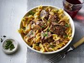 """<p><strong>Recipe: <a href=""""https://www.southernliving.com/recipes/beef-stroganoff"""" rel=""""nofollow noopener"""" target=""""_blank"""" data-ylk=""""slk:Beef Stroganoff"""" class=""""link rapid-noclick-resp"""">Beef Stroganoff</a></strong></p> <p>Egg noodles, mushrooms, and beef tips come together to create a comforting bowl of stroganoff. </p>"""