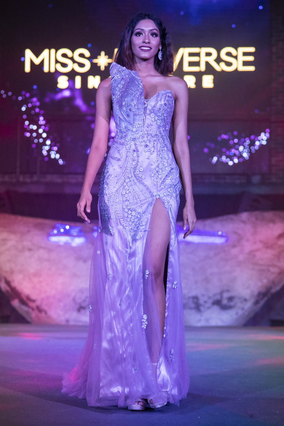Laranya Kumar competing in the evening gown segment during the 2019 Miss Universe Singapore at Zouk.