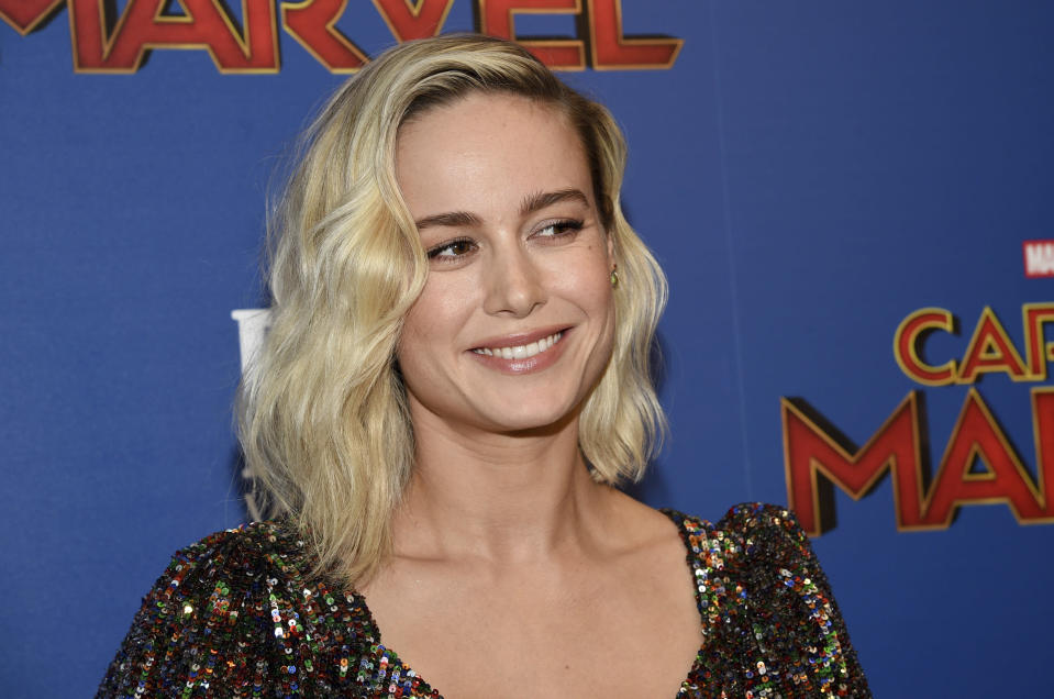 "Actress Brie Larson attends a special screening of ""Captain Marvel"", hosted by The Cinema Society, at the Henry R. Luce Auditorium on Wednesday, March 6, 2019, in New York. (Photo by Evan Agostini/Invision/AP)"