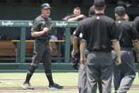 Vanderbilt head coach Tim Corbin protests a call at the plate in the eighth inning of an NCAA college baseball super regional game against East Carolina Friday, June 11, 2021, in Nashville, Tenn. The call was reversed and Vanderbilt's run counted. Vanderbilt won 2-0. (AP Photo/Mark Humphrey)